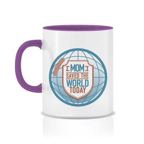 "Taza con Colores y Frase ""Mom Saved The World Today"" - Xoppal.com"