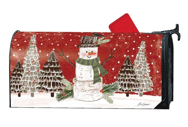 Red Woodsy Snowman Mailbox Cover