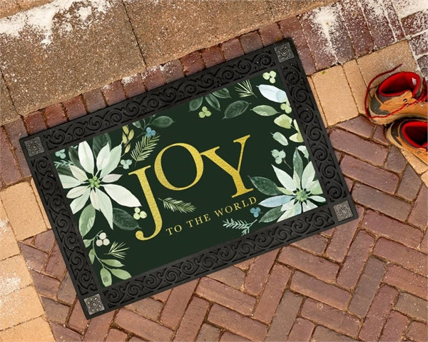 Poinsettia Joy Door Mat