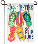 Better in Flip Flops Linen Garden Flag