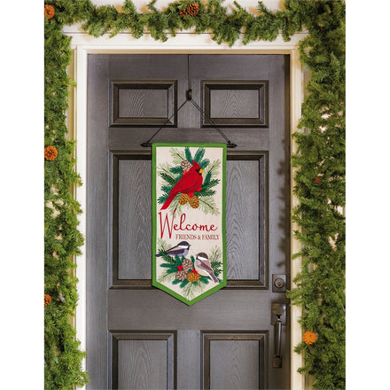 Winter Birds Welcome Garden Banner