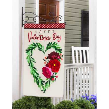 Floral Heart Wreath Applique House Flag