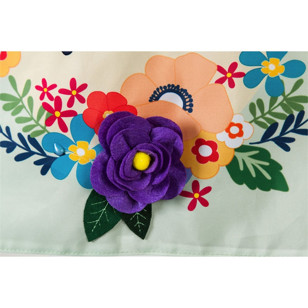 He is Risen Floral Applique Garden Flag