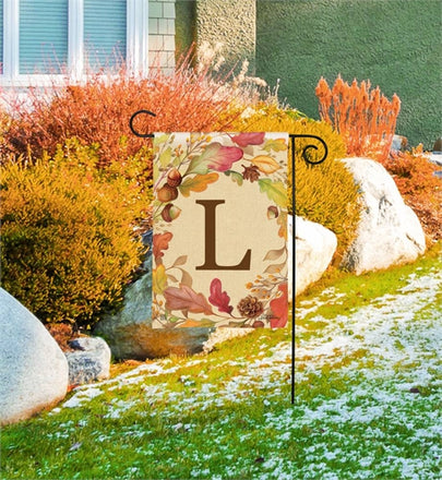 Swirling Leaves Monogram L Garden Flag