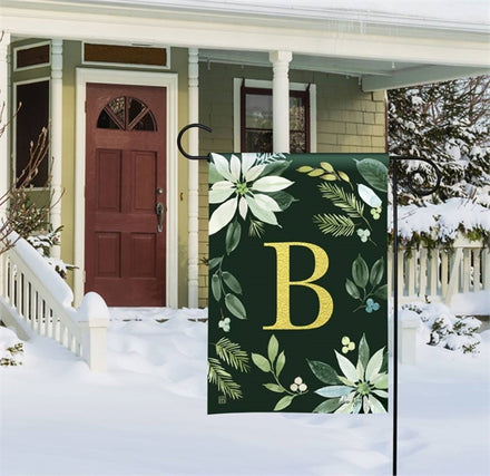 Poinsettia Joy Mono B Garden Flag