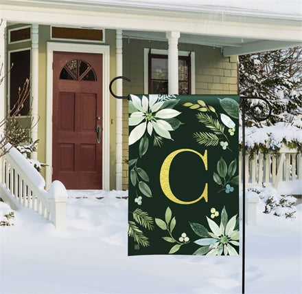 Poinsettia Joy Mono C Garden Flag