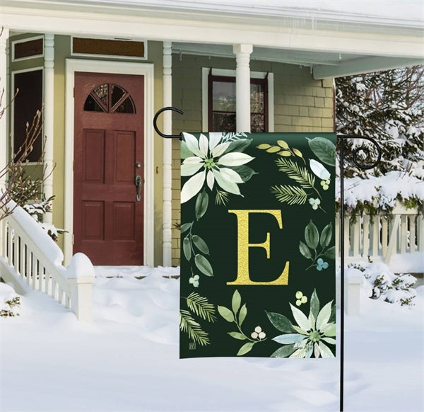 Poinsettia Joy Mono E Garden Flag