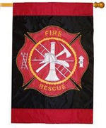Fire & Rescue Applique House Flag
