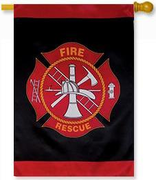 Fire & Rescue Emblem House Flag
