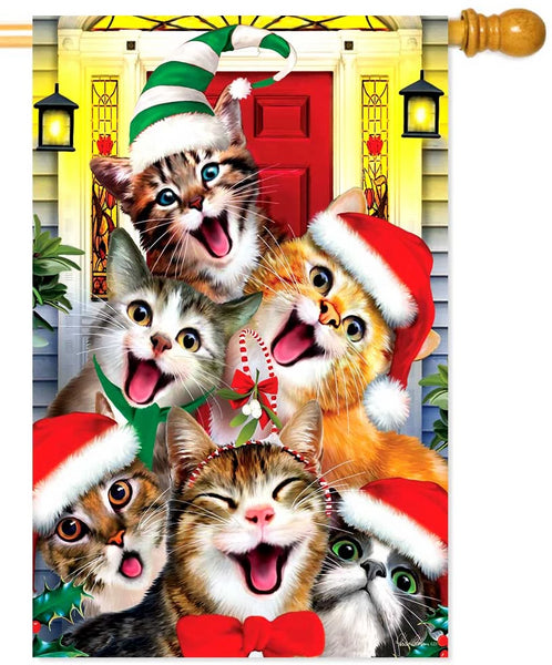 Christmas Cats House Flag