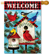 Winter Birds House Flag