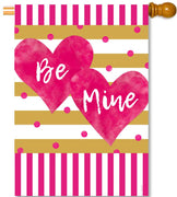 Pink & Gold Hearts House Flag