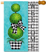 Gingham Topiary House Flag