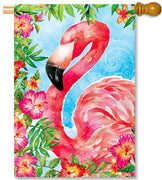 Flamingo Flowers House Flag