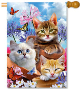 Kittens & Flowers House Flag