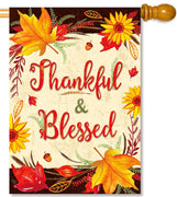 Fall Thankful & Blessed House Flag