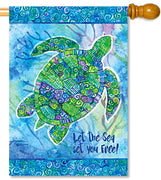 Boho Turtle House Flag
