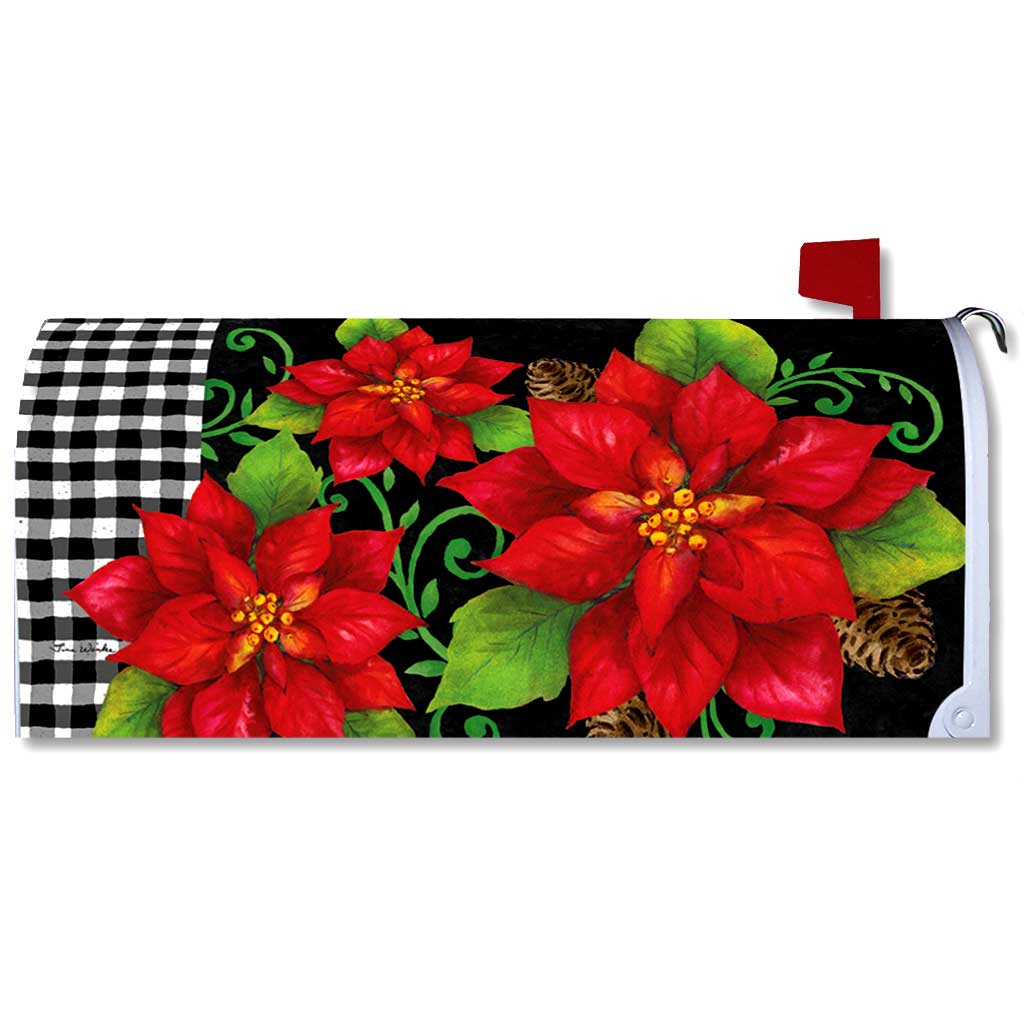 Poinsettia Check Mailbox Cover