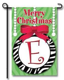 "Zebra Ornaments Monogram ""E"" Garden Flag"