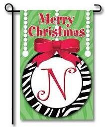 "Zebra Ornaments Monogram ""N"" Garden Flag"