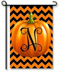 "Pumpkin Chevron Monogram ""N"" Garden Flag"