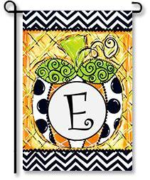 "Patterned Pumpkin Monogram ""E"" Garden Flag"