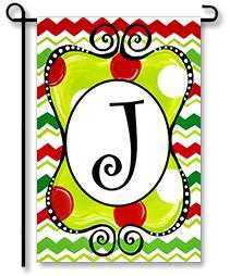 "Christmas Season Monogram ""J"" Garden Flag"