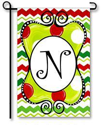 "Christmas Season Monogram ""N"" Garden Flag"