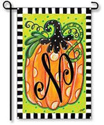 "Dotted Pumpkin Monogram ""N"" Garden Flag"