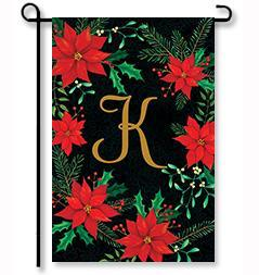 "Christmas Poinsettia Monogram ""K"" Garden Flag"