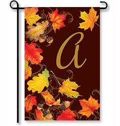 "Falling Leaves Monogram ""A"" Garden Flag"