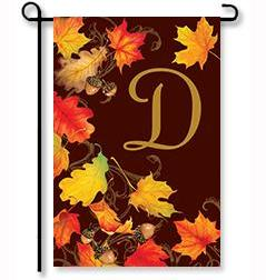 "Falling Leaves Monogram ""D"" Garden Flag"
