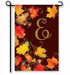"Falling Leaves Monogram ""E"" Garden Flag"
