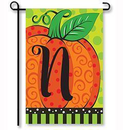 "Whimsy Pumpkin Monogram ""N"" Garden Flag"