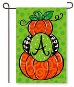 "Pumpkin Stack Monogram ""A"" Garden Flag"
