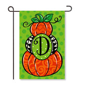 "Pumpkin Stack Monogram ""D"" Garden Flag"