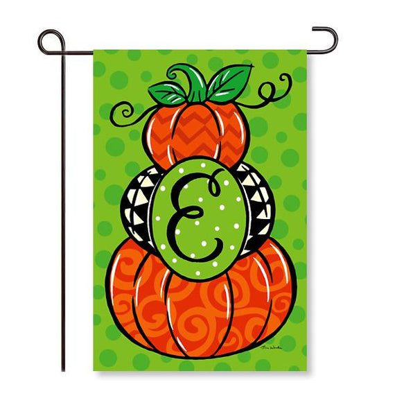 "Pumpkin Stack Monogram ""E"" Garden Flag"