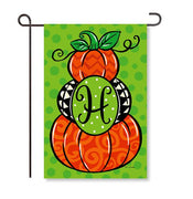 "Pumpkin Stack Monogram ""H"" Garden Flag"