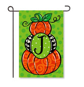 "Pumpkin Stack Monogram ""J"" Garden Flag"