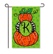 "Pumpkin Stack Monogram ""K"" Garden Flag"