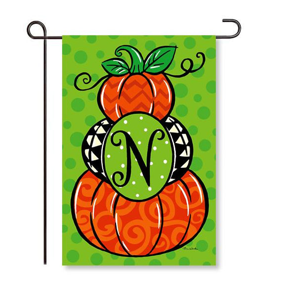 "Pumpkin Stack Monogram ""N"" Garden Flag"