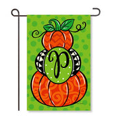 "Pumpkin Stack Monogram ""P"" Garden Flag"