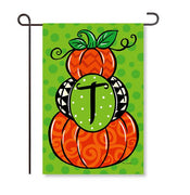 "Pumpkin Stack Monogram ""T"" Garden Flag"