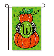 "Pumpkin Stack Monogram ""W"" Garden Flag"