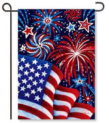 Fireworks and Flags Garden Flag