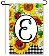 Sunflower Ladybugs Mono. E Garden Flag