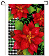 Poinsettia Check Garden Flag