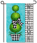 Gingham Topiary Garden Flag
