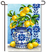 Blue Willow & Lemons Garden Flag