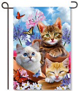 Kittens & Flowers Garden Flag
